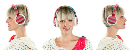 Portrait of woman with earmuff Stock Images