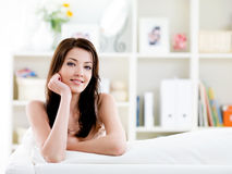 Portrait of woman with easy smile at home stock photos
