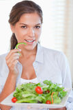 Portrait of a woman eating a salad Royalty Free Stock Photo