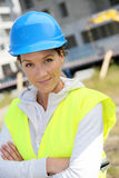 Portrait of woman engineer on building site Royalty Free Stock Photography