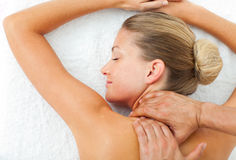 Portrait of woman enjoying a massage Royalty Free Stock Photo