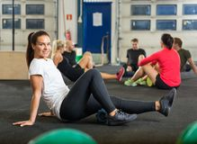 Portrait Of Woman Exercising In Cross Fitness Box Royalty Free Stock Photos