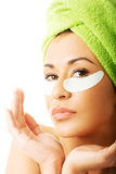 Portrait of a woman with an eye mask Stock Photo