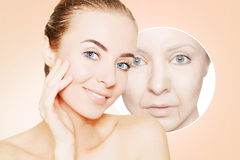 Portrait of woman face with graphic circles of ols skin for adve Stock Photos