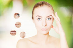 Portrait of woman face on greem with graphic circles of ols skin Stock Image