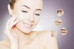 Portrait of woman face grey with graphic circles of ols skin for Stock Image