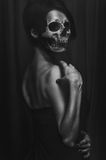 Portrait of a woman without a face. Head-skull. terrible fantasy for the halloween Stock Images