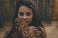 Portrait of woman in fall Stock Photo
