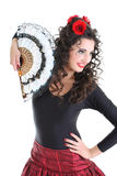 Portrait of woman with fan Royalty Free Stock Photos