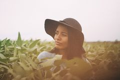 Portrait of woman in field Stock Image
