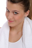 Portrait of woman with fitness towel Royalty Free Stock Photo