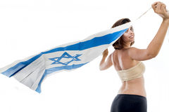 Portrait of a woman with the flag of Israel Stock Photography