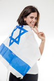 Portrait of a woman with the flag of Israel Stock Images