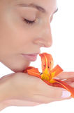 Portrait of woman with a flower Stock Photography