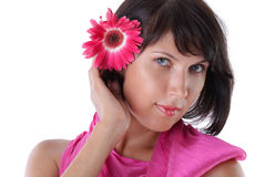 Portrait of a woman with a flower Stock Image