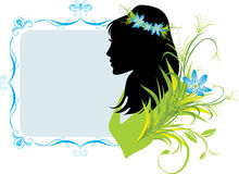 Portrait of woman with flowers. Decorative frame Stock Photos