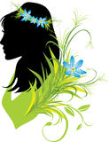 Portrait of woman with flowers in hair. Silhouette Stock Image