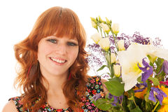 Portrait woman with flowers Stock Photography
