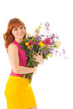 Portrait woman with flowers Stock Photos