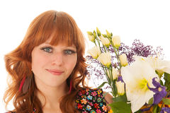 Portrait woman with flowers Royalty Free Stock Image