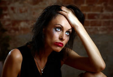 Portrait of a woman with flowing make-up Royalty Free Stock Photos