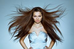 Portrait of woman with flying hair royalty free stock photo