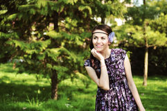 Portrait of a woman in the forest Royalty Free Stock Images