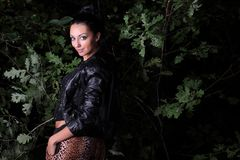 Portrait woman in the forest Stock Images