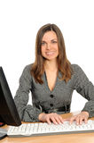 Portrait of the woman  in front of her computer Stock Photography
