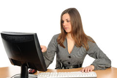 Portrait of the woman  in front of her computer Royalty Free Stock Images
