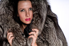 Portrait of woman with fur Royalty Free Stock Images