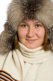 Portrait of woman in fur-cap Royalty Free Stock Image