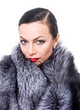 Portrait of a woman in a fur coat Stock Image