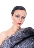Portrait of a woman in a fur coat Royalty Free Stock Photography