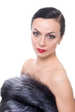 Portrait of a woman in a fur coat Royalty Free Stock Photo