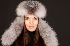 Portrait of a woman in fur hat Stock Photography