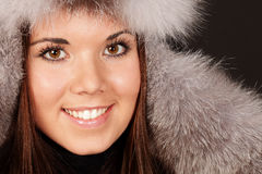 Portrait of a woman in fur hat Stock Image