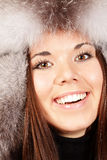Portrait of a woman in fur hat Royalty Free Stock Images