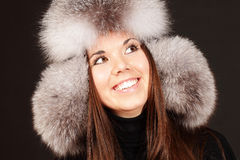 Portrait of a woman in fur hat Royalty Free Stock Photography