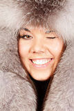 Portrait of a woman in fur hat Royalty Free Stock Photo