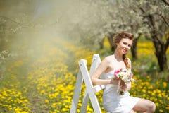 Portrait of  woman in garden Stock Photos