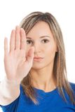 Portrait of a woman gesturing stop sign Stock Photo