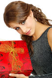 Portrait  woman with gift box Royalty Free Stock Photos