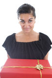Portrait of woman giving a  present Royalty Free Stock Photo