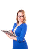 Portrait of a woman in glasses and with folder in her hands Stock Photo