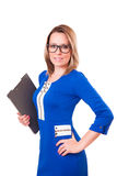 Portrait of a woman in glasses and with folder in her hands Stock Photography