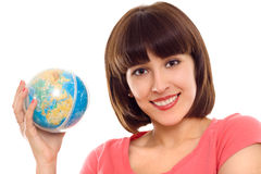 Portrait of woman with globe in hands Royalty Free Stock Images