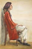 Portrait of a woman in Greek costume. Watercolor painting. Portrait of a woman in Greek costume of a Greek woman in national costume. A woman sitting on a chair Royalty Free Stock Photos