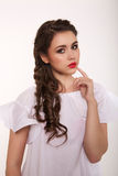 Portrait of woman with hair style. Portrait of brunet woman with hair style braids Royalty Free Stock Photography