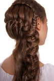 Portrait of woman with hair style. Portrait of brunet woman with hair style braids Stock Photography